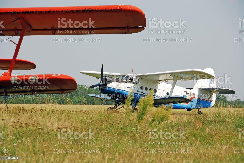 Antonov An-2 biplane on the airfield, in the Iasi County, Romania stock photo