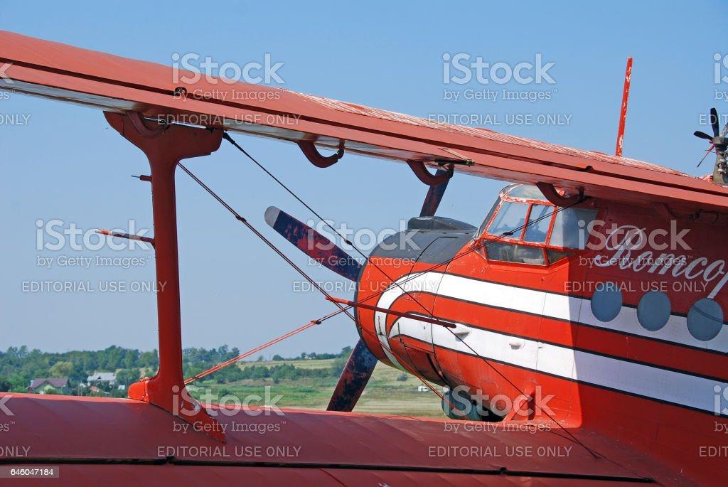 Antonov AN-2 biplane on the airfield stock photo