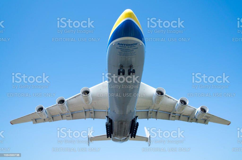 Antonov An-225 Mriya aircraft landing in the Gostomel airport in Kyiv stock photo