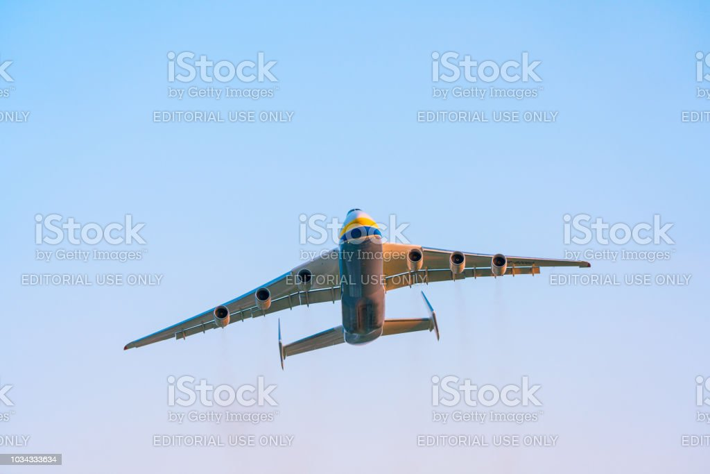 Antonov An-225 Mriya aircraft takes off from the Gostomel airport in Kyiv, Ukraine. This giant cargo plane is the heaviest aircraft ever built. Summer 2018 stock photo