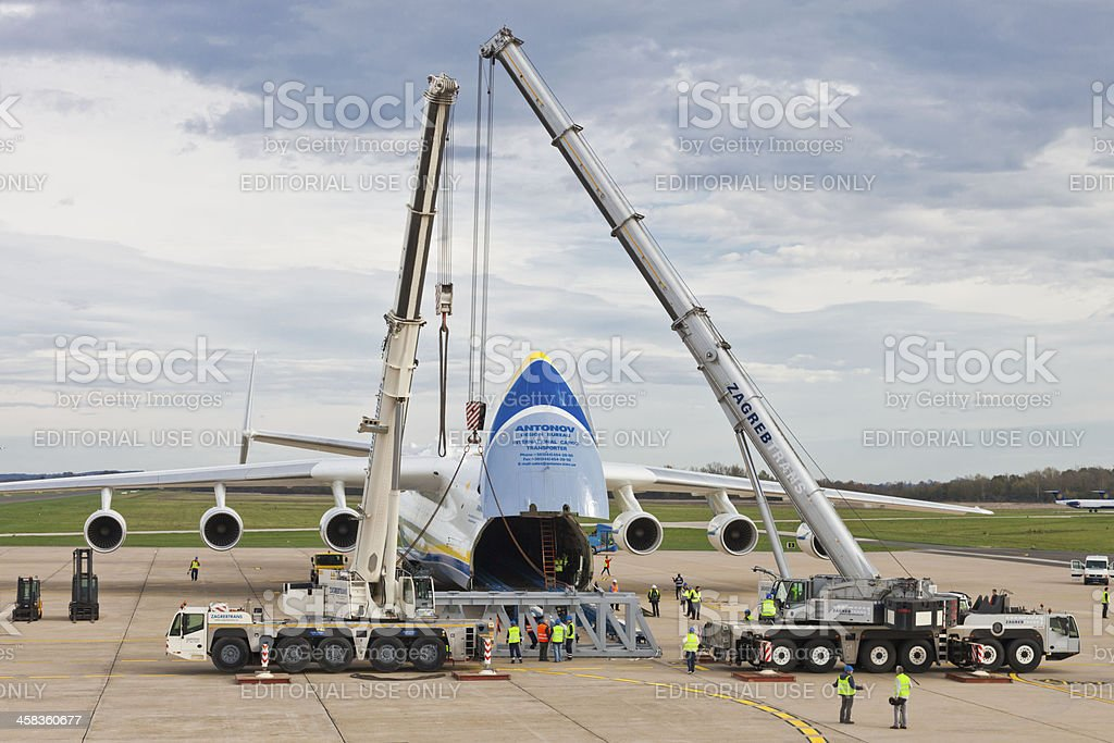 Antonov AN-225 Mriya embarking load royalty-free stock photo