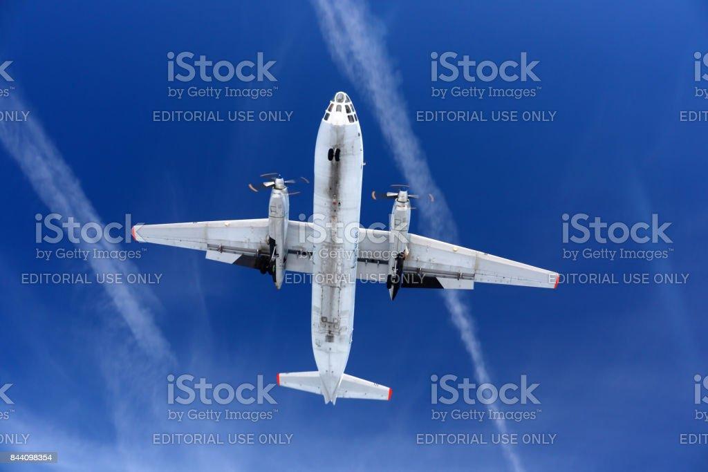 Antonov An-30 87 BLACK of russian air force landing at Kubinka air force base. stock photo