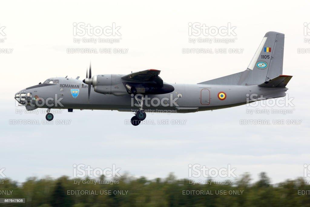 Antonov An-30 of Romaninan air force landing at Kubinka air force base. stock photo