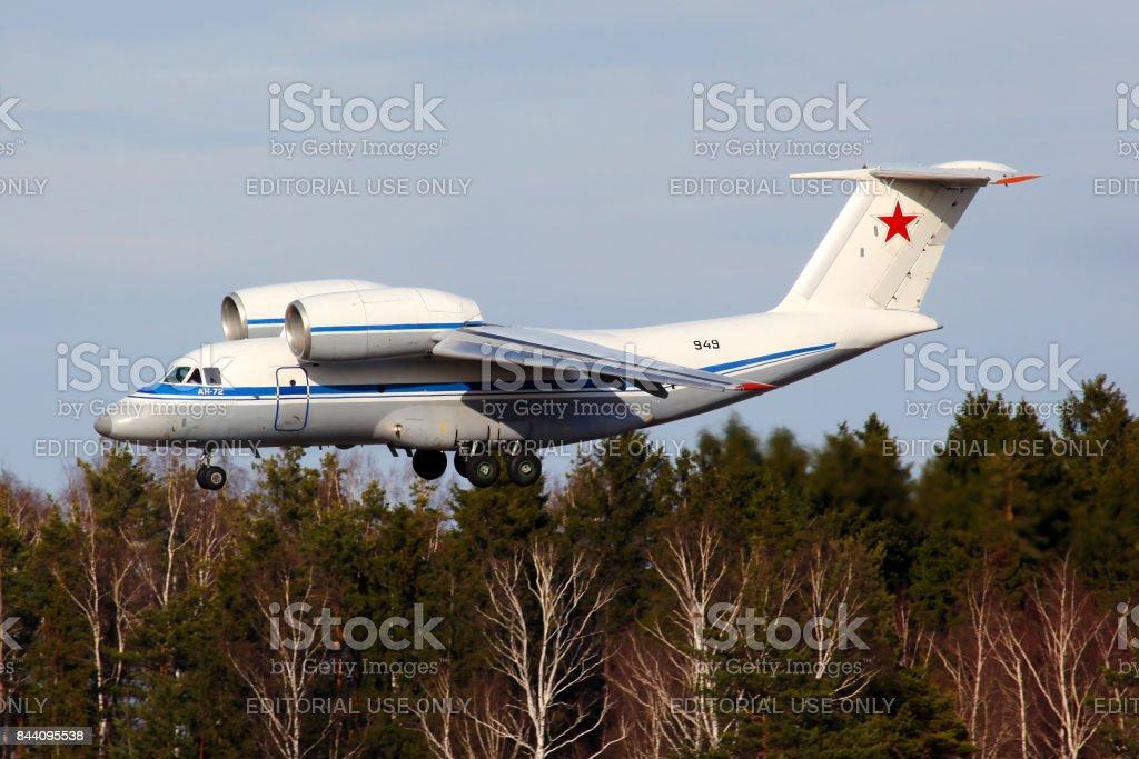 Antonov An-72 949 BLACK of Russian Air Force landing at Chkalovsky. stock photo