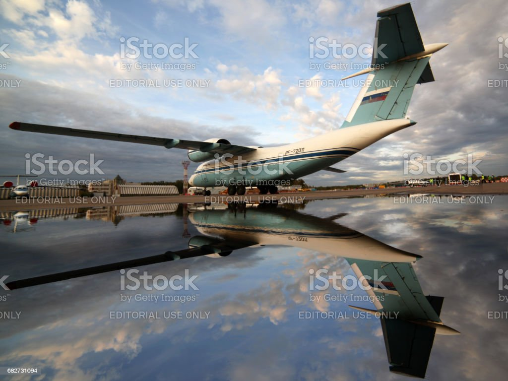 Antonov An-72 RA-72011 of federal security servicce standing at Sheremetyevo international airport. stock photo