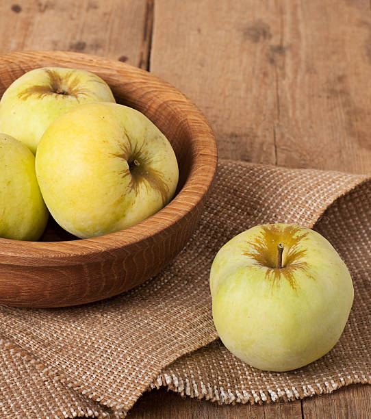 Antonovka apples on wooden stock photo