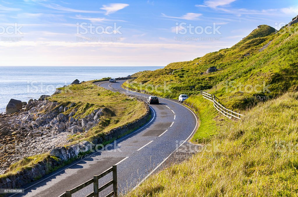 Antrim Coastal Road in Northern Ireland, UK stock photo