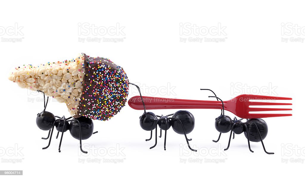 Ants Carrying Ice Cream Cone, Concept royalty free stockfoto