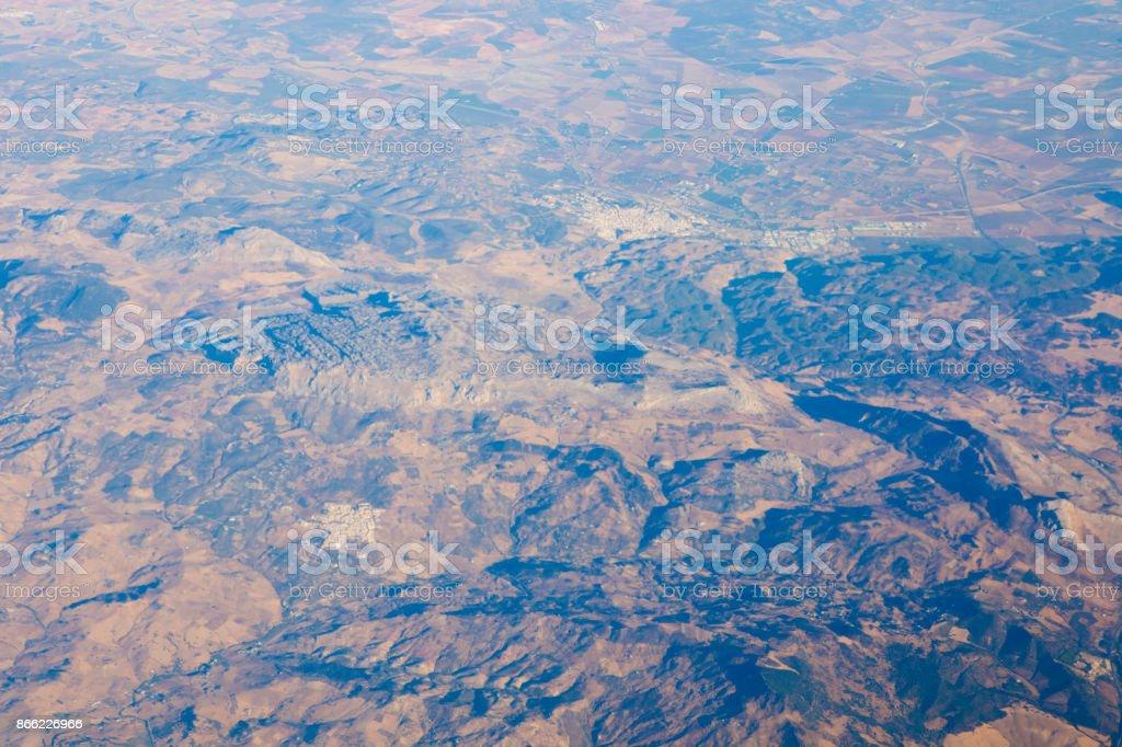 Antuequera aerial views and el Torcal de antequera mountains stock photo