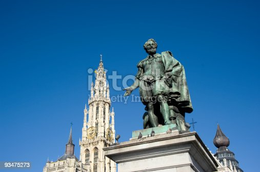 The Bronze statue of the Flemish painter Peter Paul Rubens at the Groenplaats  (=Green place) in the very center of old Antwerp in front of the Cathedral of Our Lady (Dutch: Onze-Lieve-Vrouwekathedraal).  Willem Geefs (1805-1883) was the sculptor. The statue was erected in 1843.
