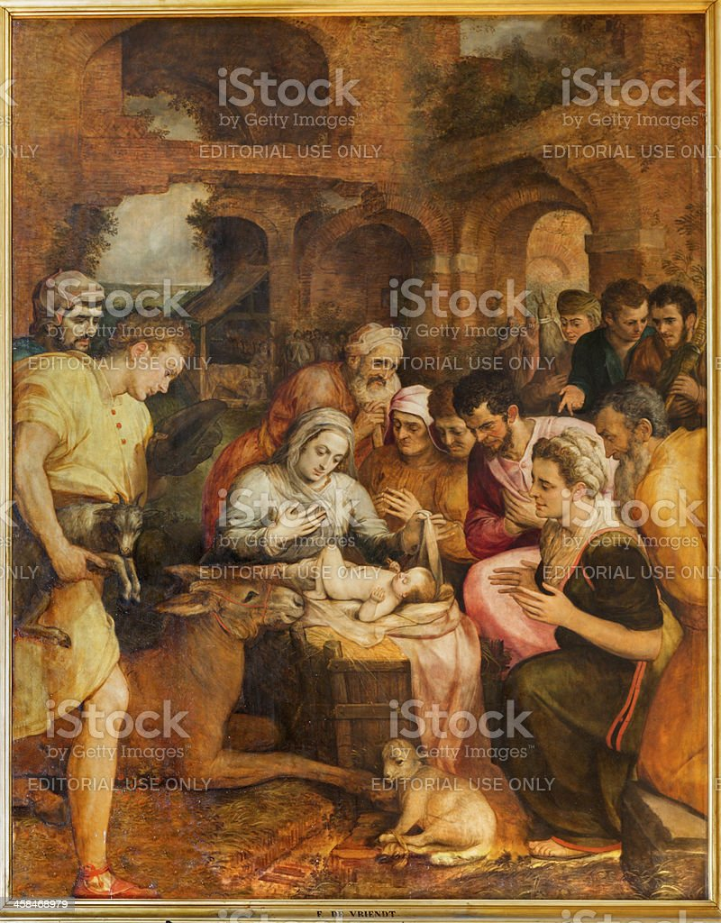 Antwerp - Adoration of pastores by Frans Floris in cathedral royalty-free stock photo