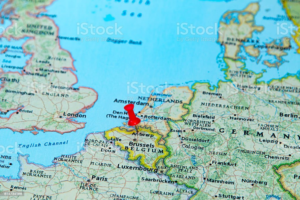 Antwerp Belgium Pinned On A Map Of Europe Stock Photo More