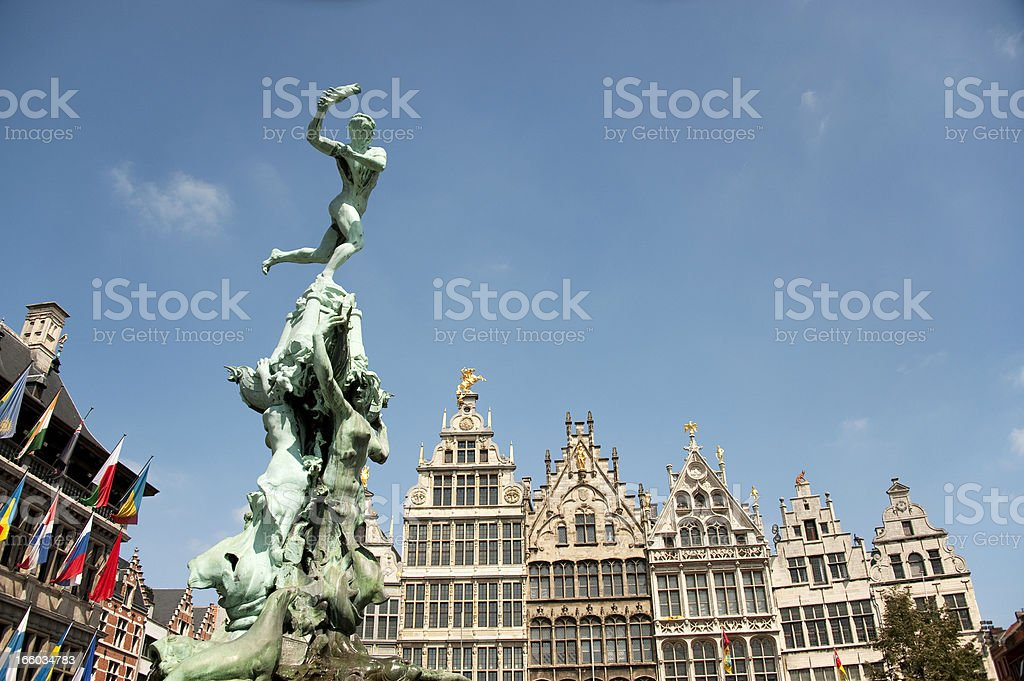 Antwerp, Brabo and historical house fronts stock photo