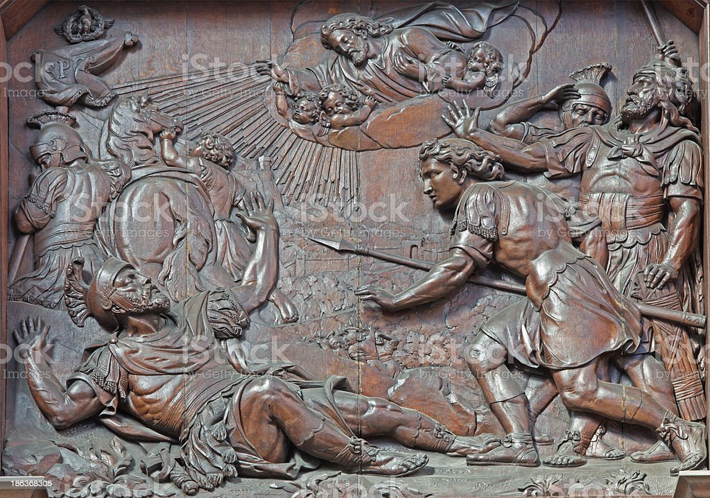Antwerp - Carved relief of st. Paulof conversion stock photo