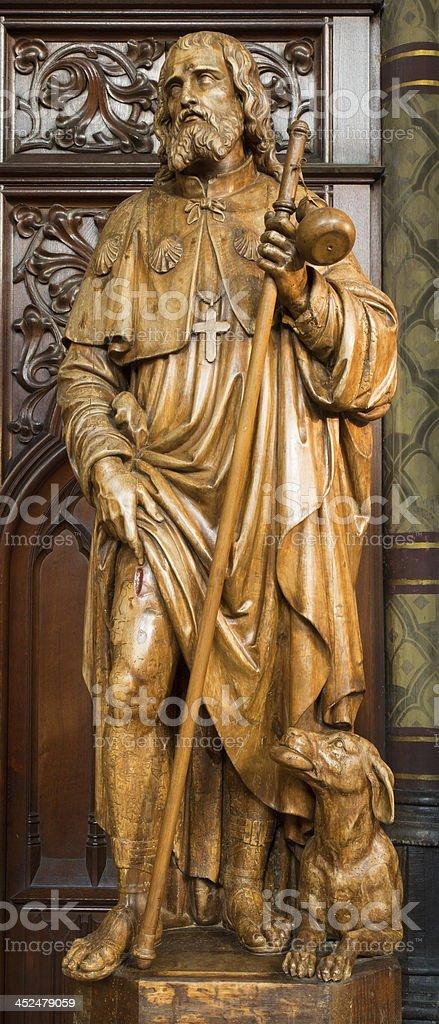 Antwerp - Carved statue of apostle Jacob from Joriskerk stock photo