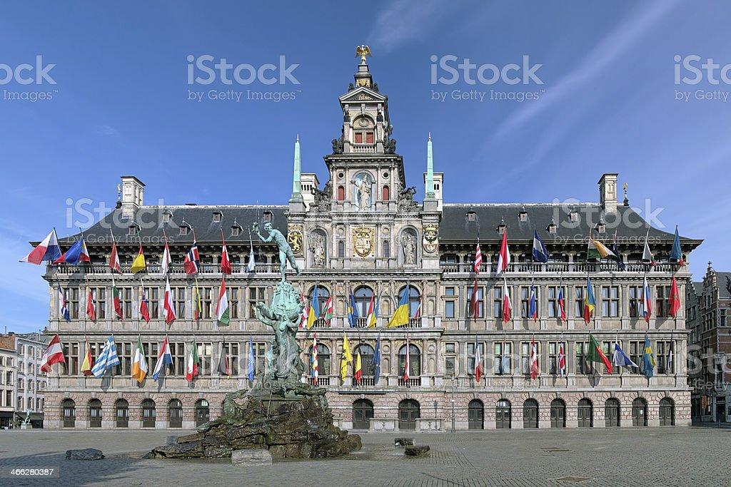 Antwerp City Hall and Brabo fountain, Belgium royalty-free stock photo