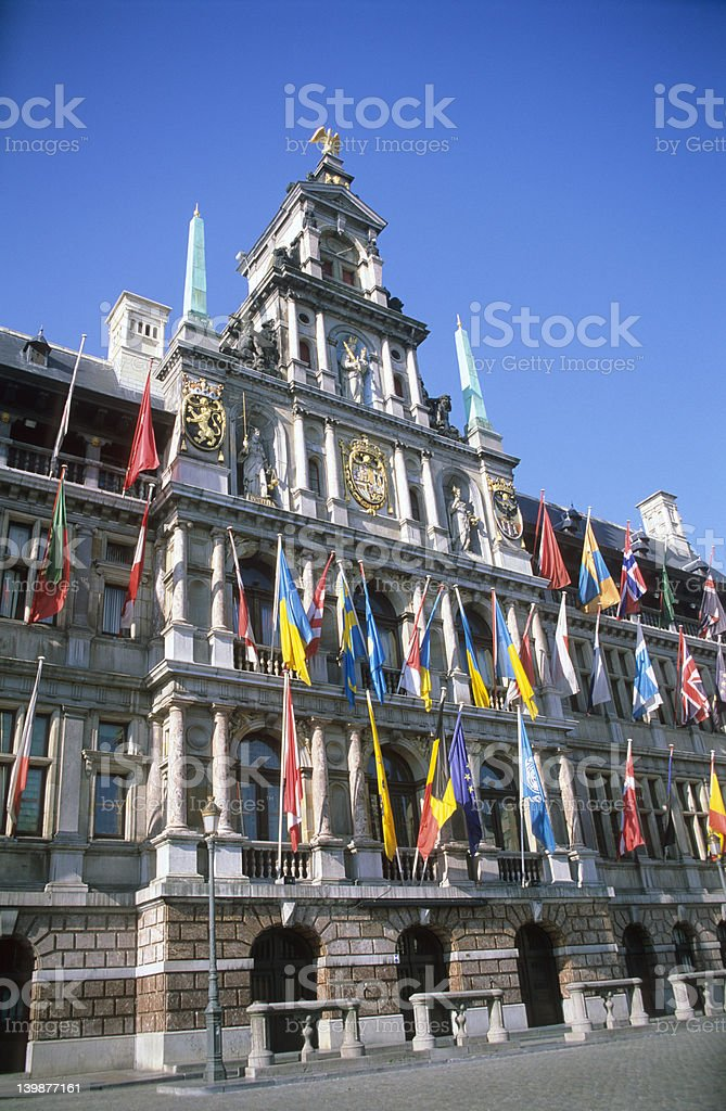 Antwerp City Hall The city hall of Antwerp, Belgium is covered with flags. For more images like this one, view my  Antwerp City - Belgium Stock Photo