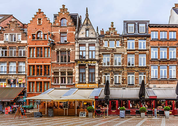 Antwerp cityscape with traditional brick houses - Photo
