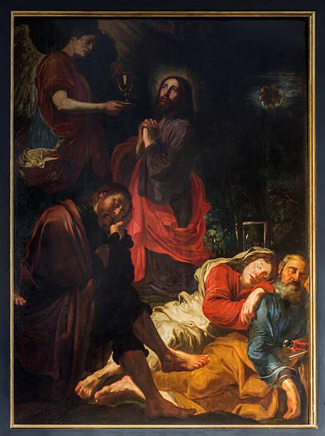 Antwerp - Jesus in Gethsemane garden by David Teniers stock photo