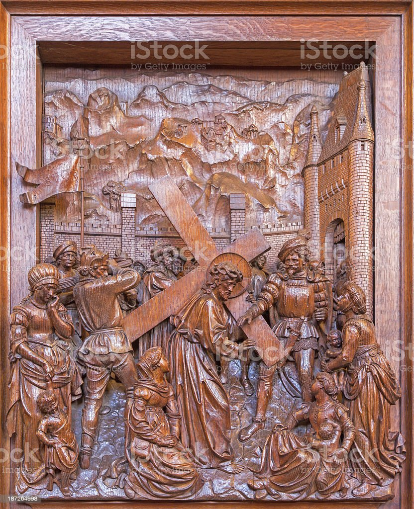 Antwerp -  Jesus with the cross and cried women royalty-free stock photo