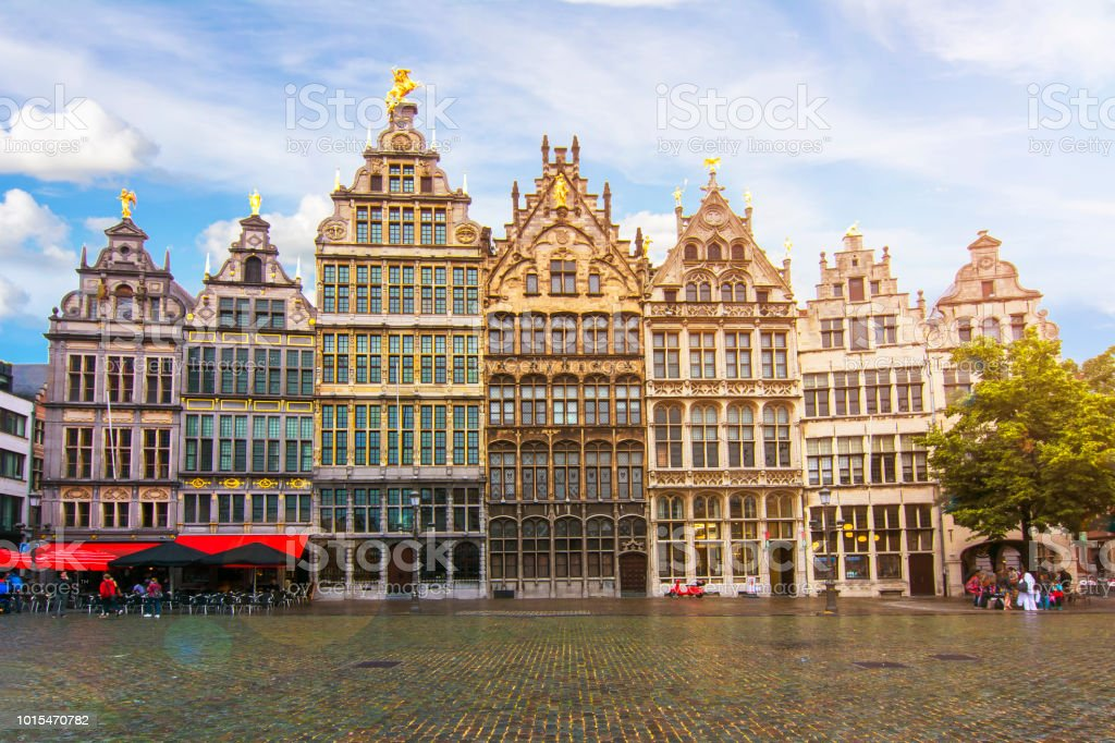 Antwerp market square, Belgium stock photo