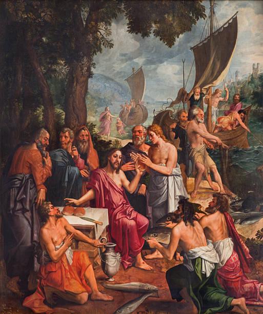 Antwerp - Paint of Miracle fishing scene stock photo