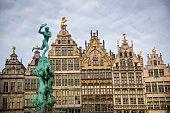 Brabo's Monument (Brabomonument) and in Antwerp, Belgium.