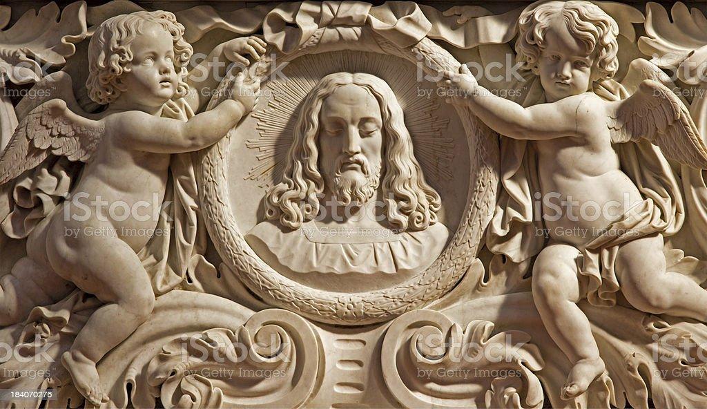 Antwerp -  Relief of Jesus head and angels stock photo