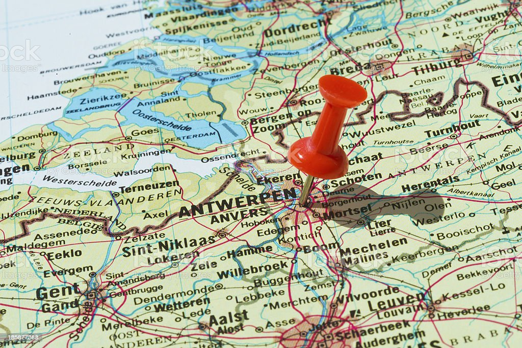 Antwerpen Marked on Map with Red Pushpin stock photo