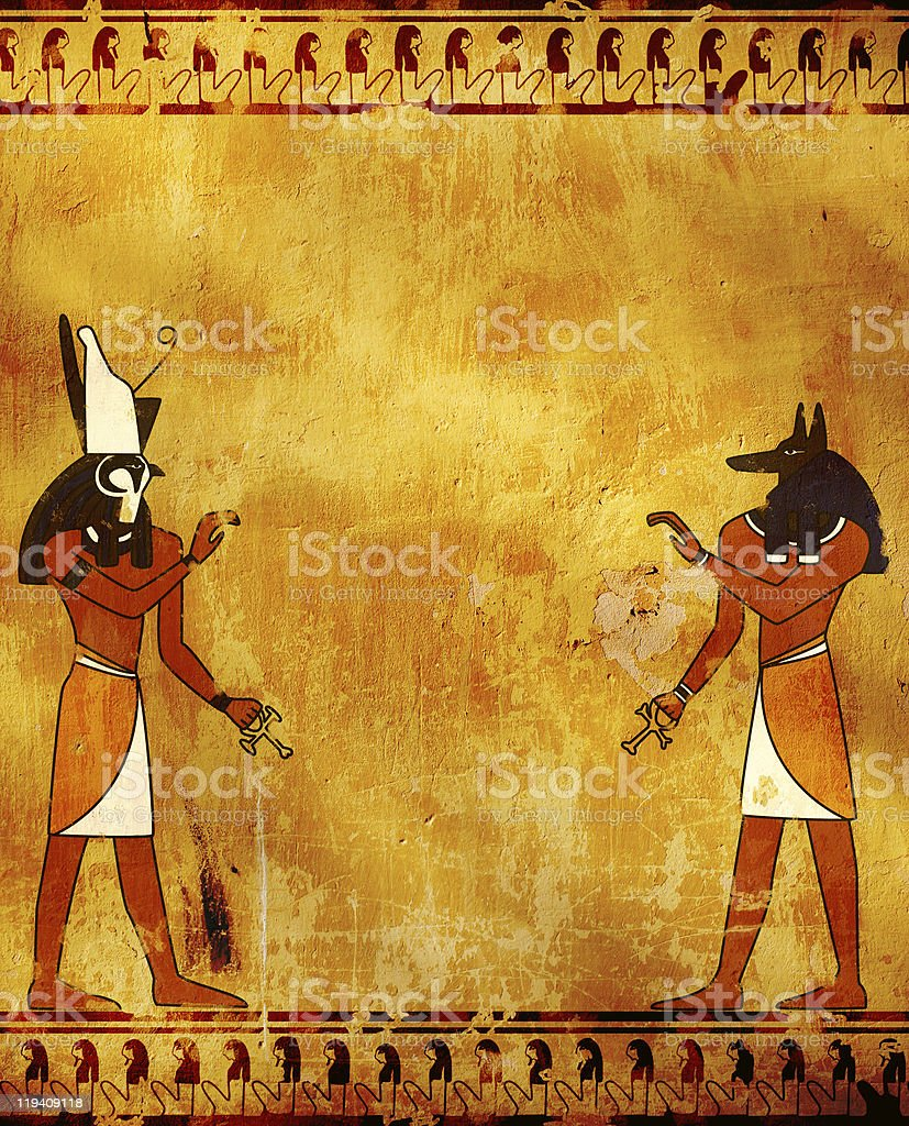 Anubis and Horus stock photo