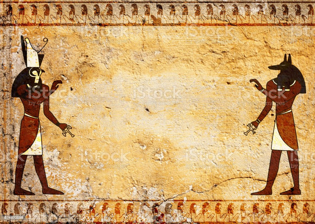 Anubis and Horus stock photo