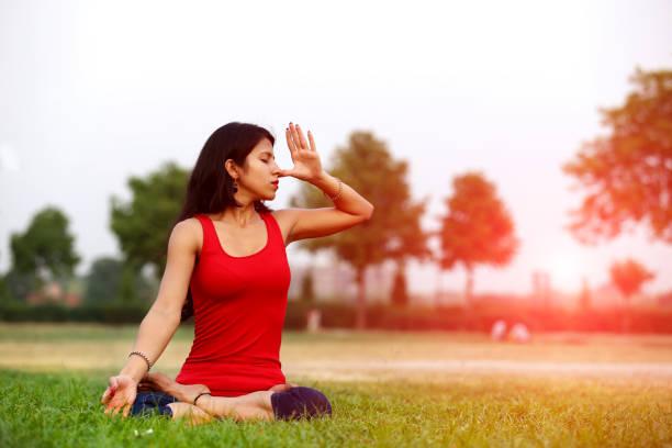 Anulom Vilom (Yoga Posture) stock photo