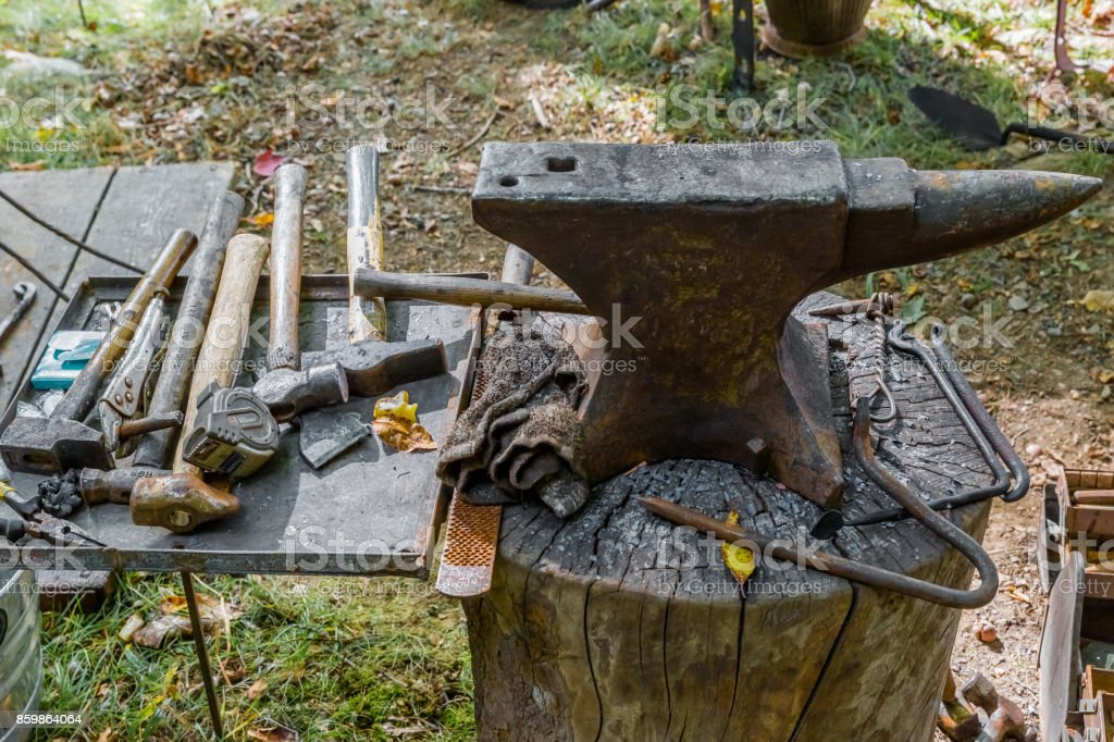 Anvil And Other Blacksmith Tools Stock Photo - Download Image Now