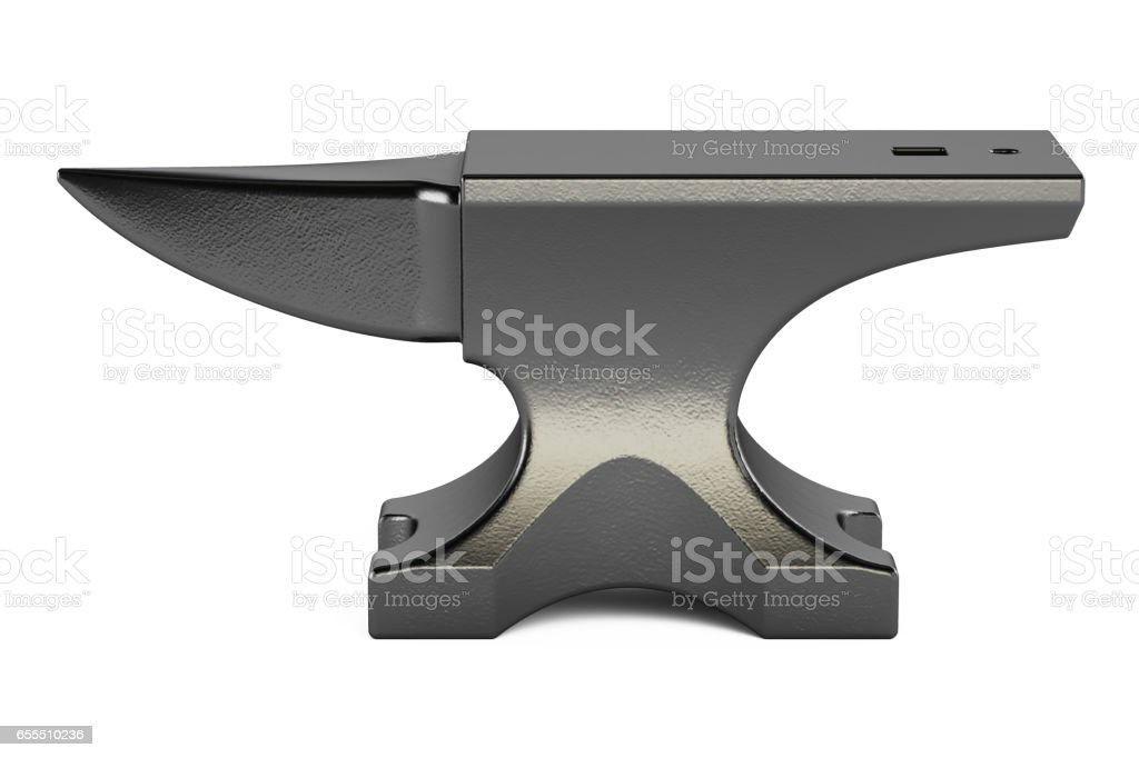 anvil closeup, 3D rendering isolated on white background stock photo