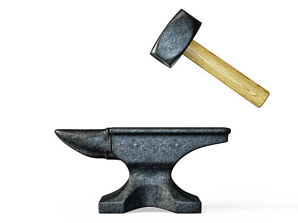 anvil black anvil and hammer isolated on a white anvil stock pictures, royalty-free photos & images