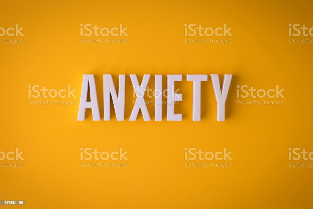 Anxiety lettering sign stock photo