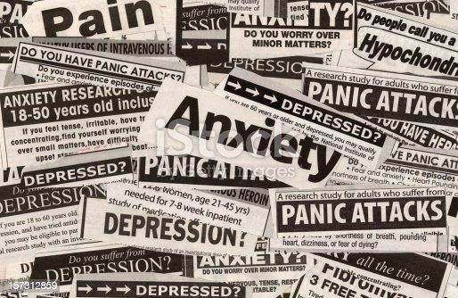 Newspaper cuttings focusing on medical studies and depression etc