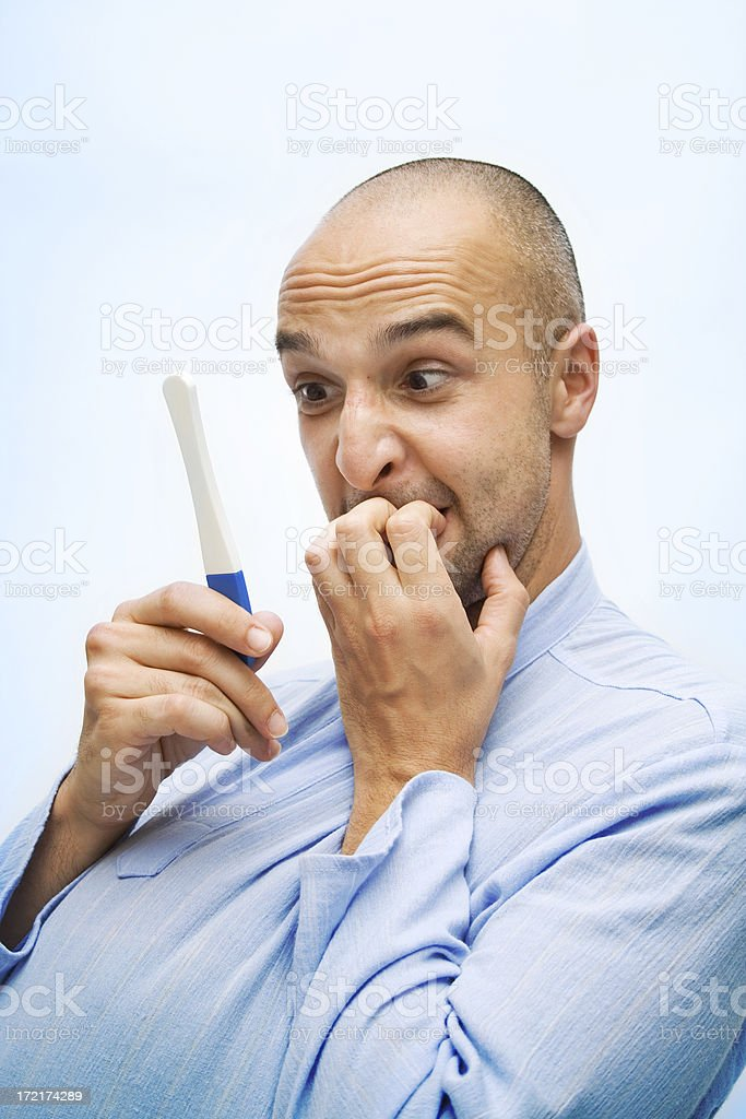 Anxious, biting nails royalty-free stock photo