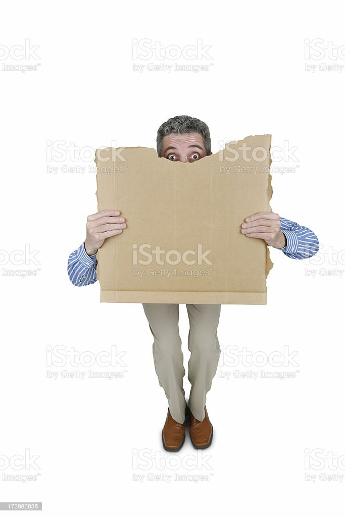 Anxious Businessman and Sign with Clipping Path royalty-free stock photo