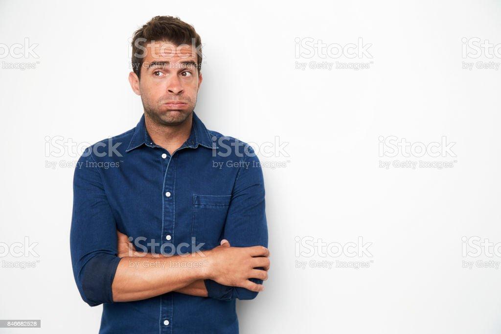 Anxious guy stock photo
