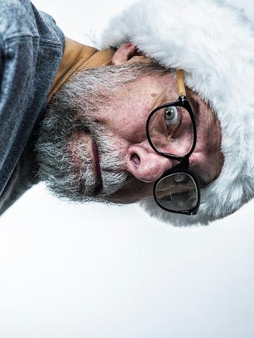 Anxious Nerd Santa Claus Senior Adult Man