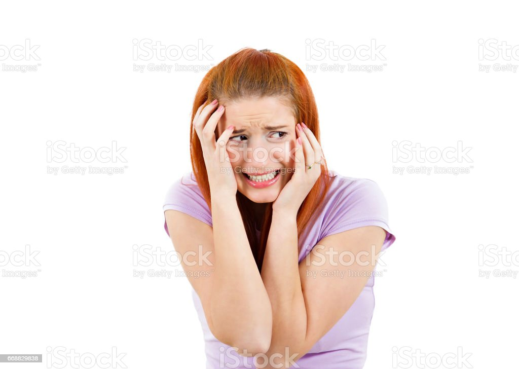 anxious woman, employee, student, worker funny looking female, shocked, scared stock photo