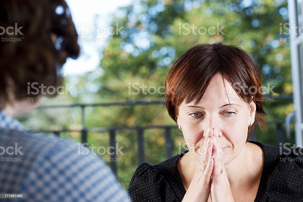 Anxious  Young Woman In a Counselling Session stock photo
