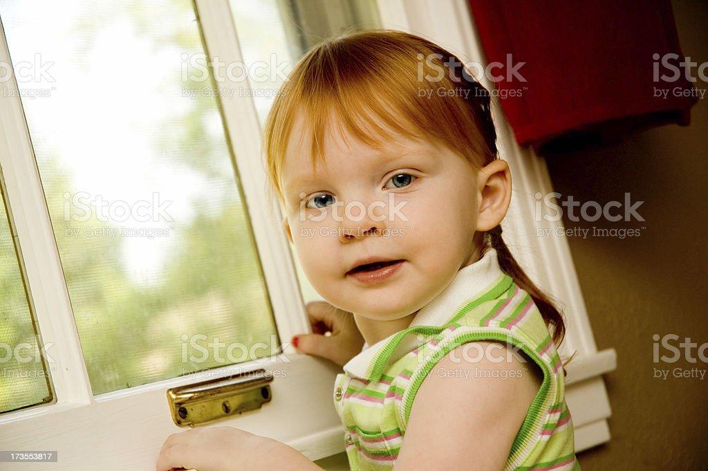 Anxiously Awaiting Redhead stock photo