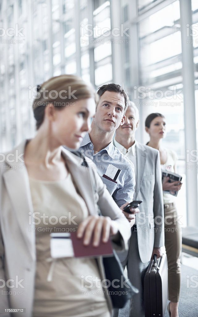 Anxiously waiting to board his flight royalty-free stock photo