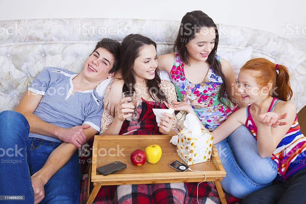 Any illness will go away when best friends are together royalty-free stock photo