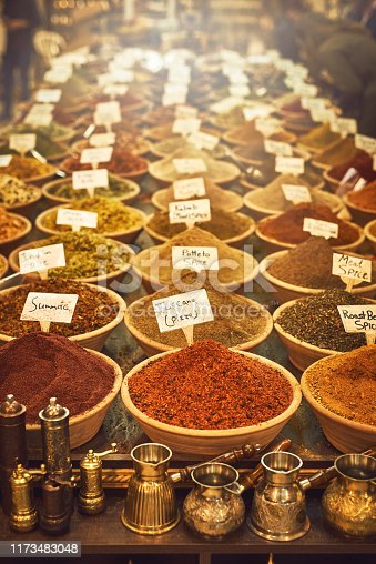 Shot of an assortment of spices for sale at a market store