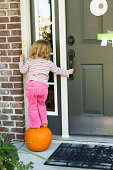 Little toddler girl looking for Halloween candy on top of the pumpkin to reach the door bell while keeping balance. Looking inside of the house with hope someone will answer. She has pretty orange socks