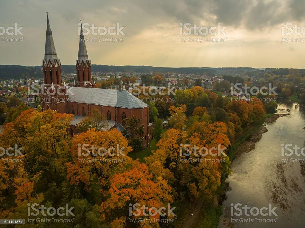 Anyksciai, Lithuania: neo-gothic roman catholic church in the autumn stock photo