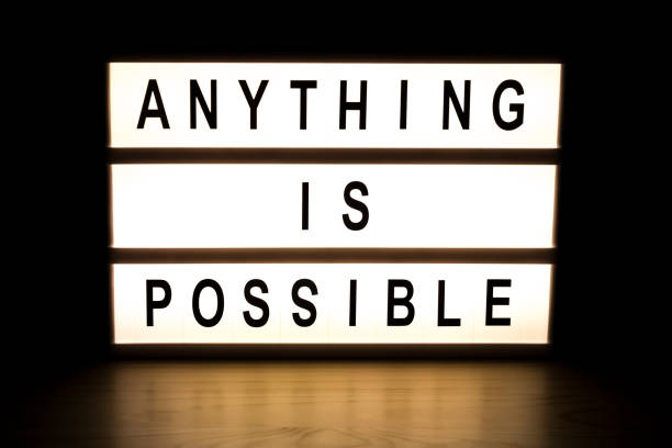 anything is possible light box sign board - possible stock photos and pictures